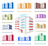 Multistoried building site icons logo set Stock Image