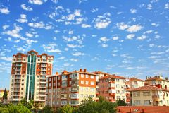 Multistoried living block of flats. Residential apartment buildings. Suburban accommodation Royalty Free Stock Photos