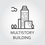 Multistory building icon drawn in outline style. Urban houses concept. Multistory building concept. Sign of urban houses. Simple mono black line silhouette of Stock Photo