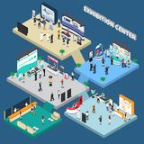 Multistory Exhibition Center Isometric Composition. On blue background with exposition stands, business people, vector illustration stock illustration
