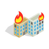 Multistory houses burn, modern war icon Royalty Free Stock Photos