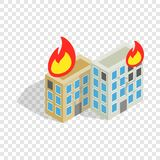 Multistory houses burn, modern war isometric icon Royalty Free Stock Image