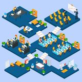 Multistory Office Isometric. With business people and interior 3d icons vector illustration Royalty Free Stock Photos