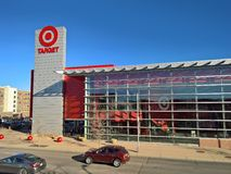 Multistory Target store, glass facade. DECEMBER 09, 2017 - LAKEWOOD, CO: Two-story Target store.  Minneapolis-based Target Corporation develops and builds Royalty Free Stock Image