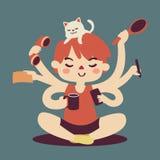 Multitarefa da menina dos desenhos animados Ilustração do Vetor