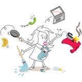 Multitarefa do caos da mulher dos desenhos animados ilustração do vetor