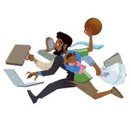 Multitarefa ocupada super do homem negro e do pai dos desenhos animados no trabalho ilustração stock