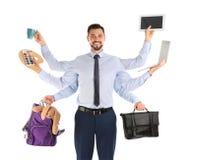 Multitask biznesmen z dużo wręcza trzymać różnego materiał na białym tle obraz royalty free