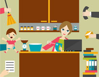 Multitask woman, mother managing her work with smile. Royalty Free Stock Images