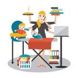 Multitask woman. Vector illustration. Stock Photo