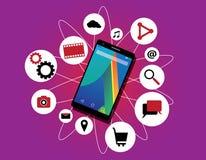 Multitasker för apps för kapacitet för Multitaskingtelefonmobiltelefon rinnande åtskillig royaltyfri illustrationer