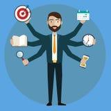 multitasking Ανθρώπινο δυναμικό και μόνη απασχόληση - διανυσματική απεικόνιση απεικόνιση αποθεμάτων