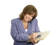 Multitasking bedrijfs van de Vrouw stock foto