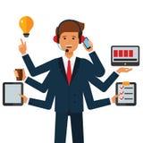 Multitasking biznesmena kreskówki płaski wektorowy ilustracyjny pojęcie na odosobnionym białym tle ilustracja wektor