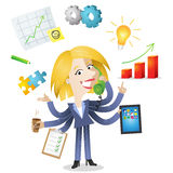 Multitasking blond business woman. Vector illustration of a competent blond cartoon business woman with six arms doing multiple office tasks at once as a symbol Royalty Free Stock Photos
