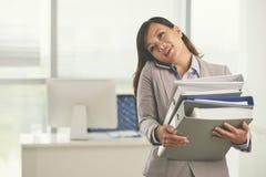 Multitasking business lady Royalty Free Stock Photo