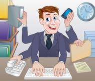 Multitasking Business Man Cartoon Royalty Free Stock Photos