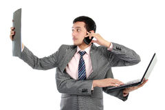 Multitasking businessman Royalty Free Stock Photos