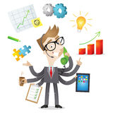 Multitasking businessman. Vector illustration of a competent cartoon businessman with six arms doing multiple office tasks at once as a symbol of the ability to Royalty Free Stock Photo