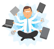Multitasking businessman with multiple arms Royalty Free Stock Photography
