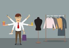 Multitasking businessman shopping in clothes store Royalty Free Stock Image