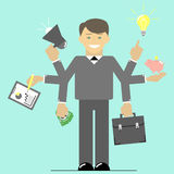 Multitasking. Businessman time to do many things at once. Flat Royalty Free Stock Image