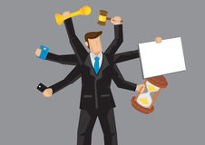 Multitasking Businessman Vector Cartoon Character Illustration Stock Photo