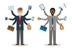 Multitasking businessmen on white. Stock Photography