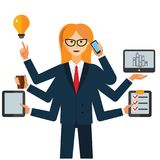 Multitasking businesswoman cartoon flat vector illustration concept on isolated white background royalty free illustration