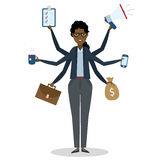 Multitasking businesswoman standing on white. Stock Photography