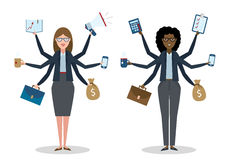 Multitasking businesswomen on white. Royalty Free Stock Photos
