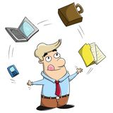 Multitasking cartoon businessman juggling office Stock Photography