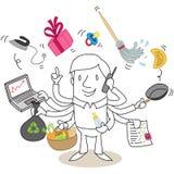 Multitasking cartoon man Stock Photo