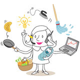 Multitasking cartoon woman Royalty Free Stock Photos