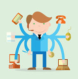 Multitasking character businessman. vector illustration Stock Photography