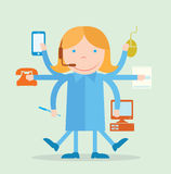 Multitasking character secretary Royalty Free Stock Images