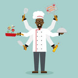 Multitasking chef with six hands. Multitasking african american chef with six hands standing on white background and holding a meal, knife, paddle, pan with vector illustration