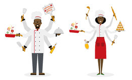 Multitasking chef with six hands. Multitasking african american chef with six hands standing on white background and holding a meal, knife, paddle, pan with stock illustration