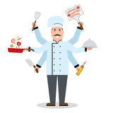 Multitasking chef with six hands. Royalty Free Stock Photo