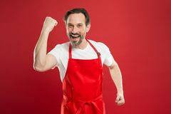 Multitasking is chefs game. Cook with beard and mustache red background. Man mature cook posing cooking apron. Fine. Recipe. Ideas and tips. Chief cook and stock photography
