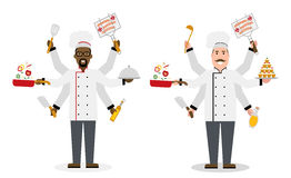 Multitasking chefs with six hands. Royalty Free Stock Photo