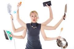 Multitasking gospodyni domowa Zdjęcie Royalty Free