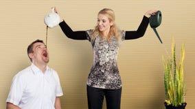 Multitasking housewife Stock Photography
