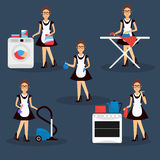Multitasking housewife illustration. Housekeeper woman ironing, cleaning, cooking and washing Royalty Free Stock Images