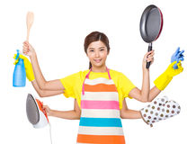 Multitasking housewife Royalty Free Stock Images