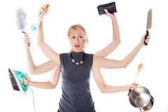 Multitasking huisvrouw royalty-vrije stock foto