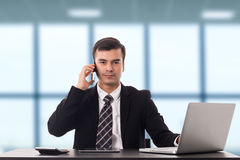 Multitasking man busy business manager task. In the office Royalty Free Stock Image