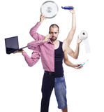 Multitasking man with multiple arms. Half a businessman and a half normal guy, multi arms holding objects in everyday life and business Stock Image