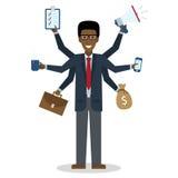 Multitasking mens die zich op wit bevinden Royalty-vrije Stock Afbeelding