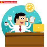 Multitasking and multipurpose businessman Stock Photo